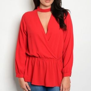 Tops - Plus size long sleeve choker tunic top